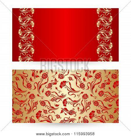 Vector Set Of Floral Decorative Background.