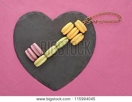 Still life macarons, key shape,heart.Love concept