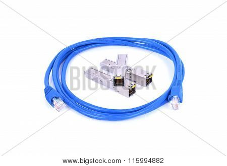Lan Connector Sfp Rj45 On White Background