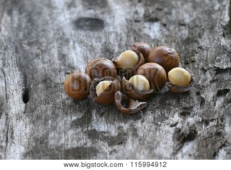 Macadamia Nuts Isolated On Wood Background