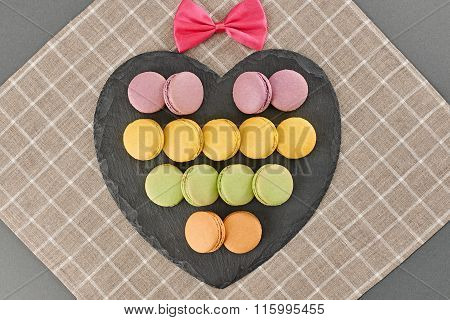 Still life macarons,heart shape, bow.Love concept