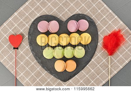 Still life macarons, hearts couple .Love concept