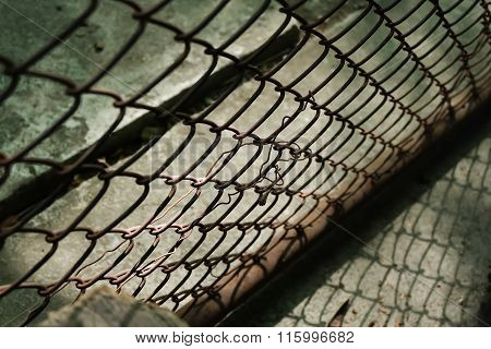 Closeup Of Old Wire Mesh Fence With Selective Focus