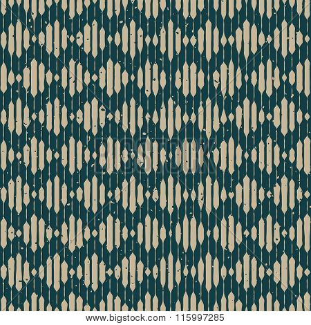 Vector Seamless Grey Green Hand Drawn Engraving Chevron Lines Retro Grunge Rhombus Pattern