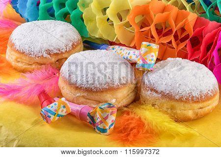 Berliner Doughnut or Krapfen on Festive Decoration