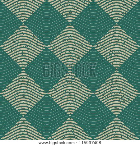 Vector Seamless Green Grey Color Hand Drawn Wavy Lines Rhombus Checker Retro Pattern