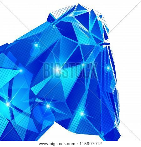 Plastic Pixilated Backdrop With Glossy 3D Cybernetic Object, Reflective Fond With Colored Complex Fi