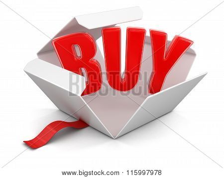 Open package with buy. Image with clipping path