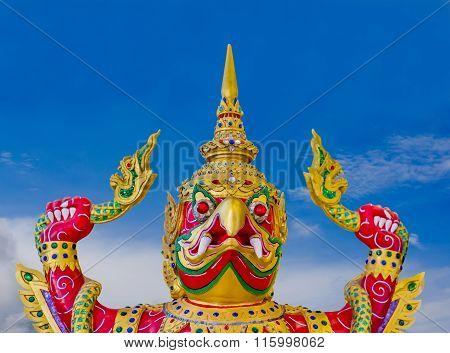 Garuda Statue With Blue Sky Background