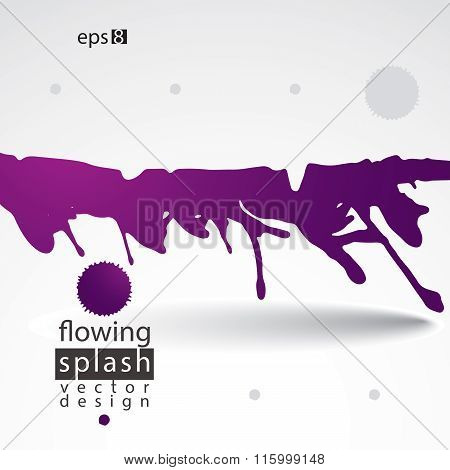 Bright Artistic Abstract Dirty Ink Template, Scanned And Traced Splashing Decorative Element.