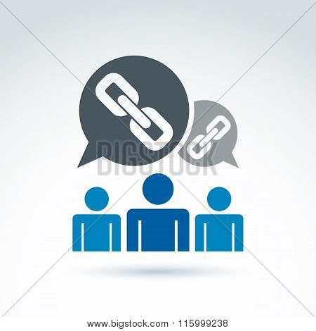 Chain link icon with team of workers or social connected people, vector symbol for your design.