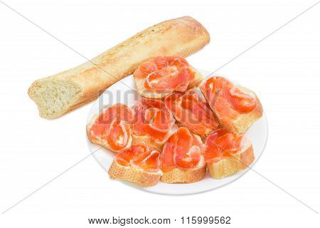 Sandwiches Made With Butter, Salted Trout And Baguette