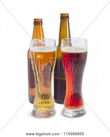 Two Beer Glasses With Lager Beer And Dark Beer