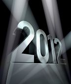 picture of new years celebration  - Number 2012 on a silvery pedestal - JPG