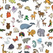 Постер, плакат: Childrens drawings doodle animals seamless pattern