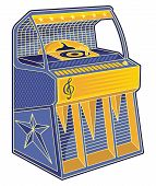 picture of jukebox  - Line art of blue and orange retro jukebox - JPG