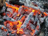 stock photo of hades  - fade bonfire in the tourist camp hot embers - JPG