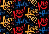 Постер, плакат: Love kiss hello text seamless pattern background