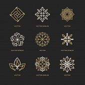 Vector Set Of Logo Design Templates And Symbols In Trendy Linear Style poster