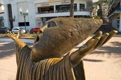 image of malecon  - one of the many interesting statues located along the malecon boardwalk in puerto vallarta mexico - JPG