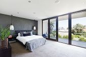Spacious Interior Of Designer Master Bedroom In Luxury Australian Home poster