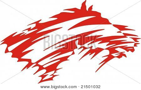 Vinyl-ready red horse. Vector illustration, great for vehicle graphics, stickers, decals and T-shirt designs.