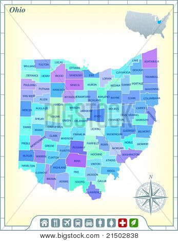 Ohio State Map with Community Assistance and Activates Icons Original Illustration