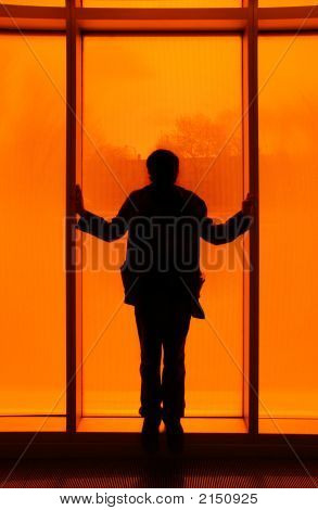 Silhouette In Front Of Orange Window
