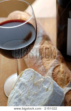 Closeup Of Cheese With Wine