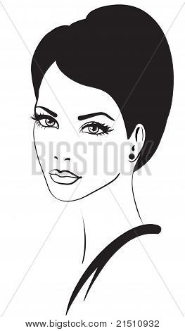 Beauty Woman Face Vector Icon
