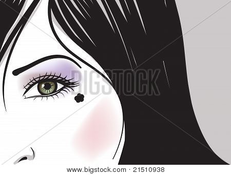Girl Green Eye Part Of Face Vector Illustration