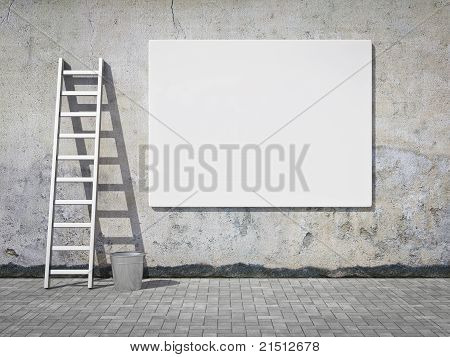 Blank Advertising Billboard On Wall