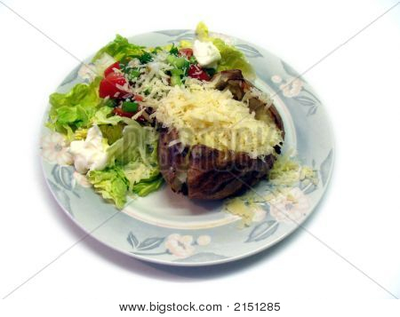 Isolated Baked Potato Cheese Salad