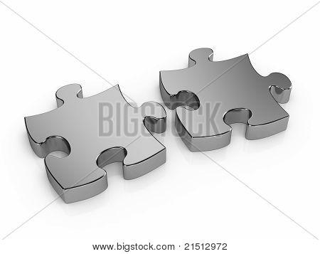 Duas peças de quebra-cabeça de Metal