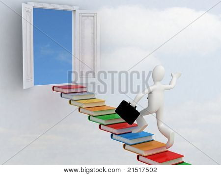 Businessman climbing the stairs to the success of knowledge