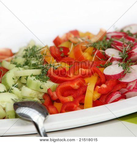 köstlichen Salat, Gurken, Paprika und Radieschen