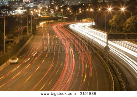 Vehicle Lights At Night On Motorway