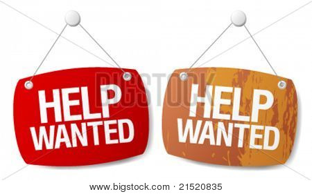 Help wanted signs set.