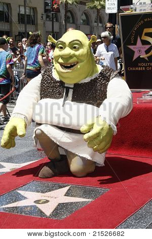 LOS ANGELES - MAY 20: Shrek at the ceremony where Shrek receives a star on the Hollywood Walk of Fame in Los Angeles, California on May 20, 2010