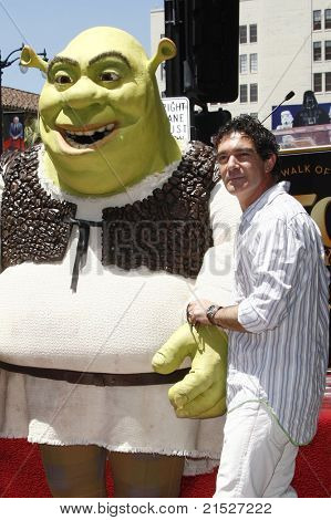 LOS ANGELES - MAY 20: Antonio Banderas at the ceremony where Shrek receives a star on the Hollywood Walk of Fame in Los Angeles, California on May 20, 2010