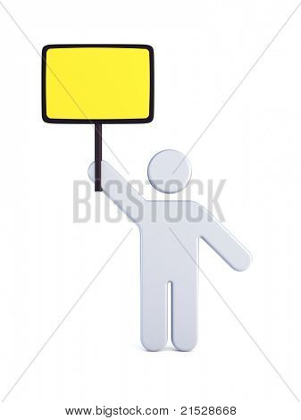 Strike of worker holding placard, 3d rendering