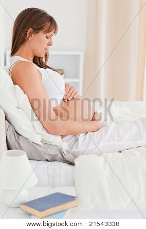 Portrait Of A Beautiful Pregnant Female Lying On A Bed