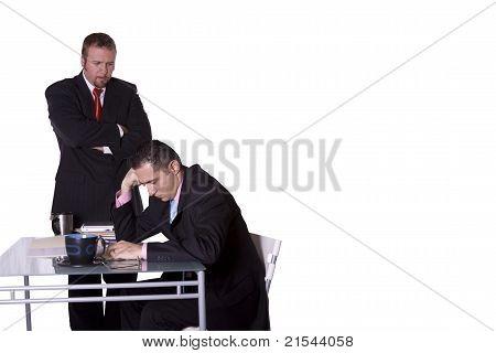 Boss Checking On His Employee - With Copy Space