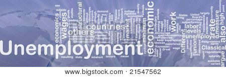 Word cloud concept illustration of unemployment work international