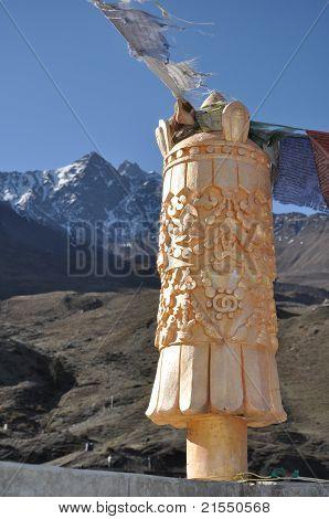 Brahma Symbol On Muktinath Temple On The Mountains Background,nepal