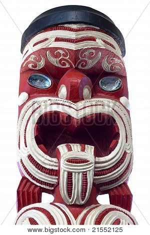 White and Red Moari Statue
