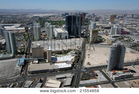 Aerial View Of Las Vegas Boulevard North And Paradise Road, Nevada