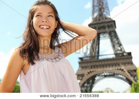 Paris Travel Woman Tourist At Eiffel Tower