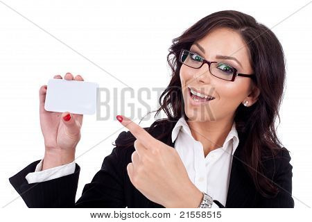 Business Woman Holding Her Visitingcard