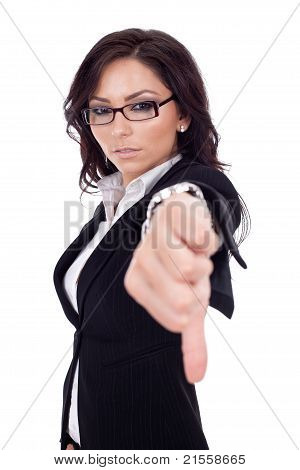 Business Woman Gesturing Thumbs Down